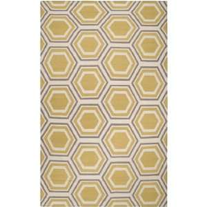 2 x 3 Retro Octagon Quince Yellow Wool Area Throw Rug