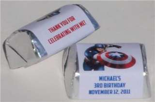 CAPTAIN AMERICA BIRTHDAY PARTY PERSONALIZED NUGGET CANDY WRAPPER