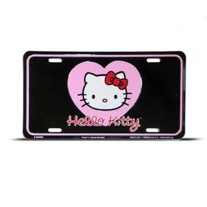 Hello Kitty Cat Pink Black Metal Novelty License Plate