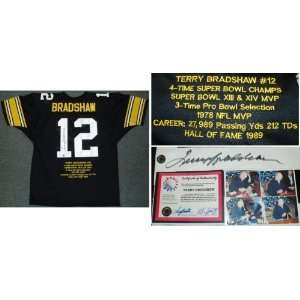 Terry Bradshaw Autographed Embroidered Custom Stat Jersey