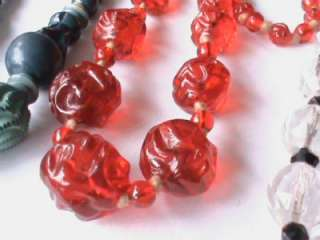 Vintage Art Deco Glass Crystal Wood Bead Necklaces   three