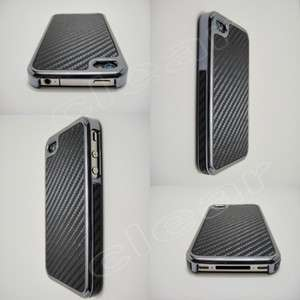 Black iPhone 4 4S Carbon Fiber Gun Metal Chrome Side Case Cover for