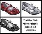 NEW Silver, Red or Black Glitter Ballet Flats Toddler Girls MaryJane