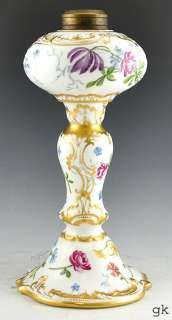 Antique French Limoges Delinieres & Co Hand Painted Porcelain Oil Lamp