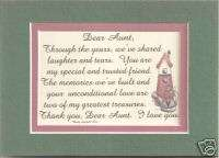 DEAR AUNT Share MEMORIES Laughter verses poems plaques