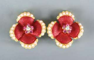 NEW RUCINNI SWAROVSKI CRYSTALS PEARL RED GREEN FLORAL BROOCH+EARRINGS