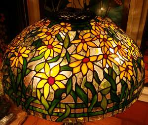 Reproduction Stained Art Glass Lamp Shade Black Eyed Susan YELLOW