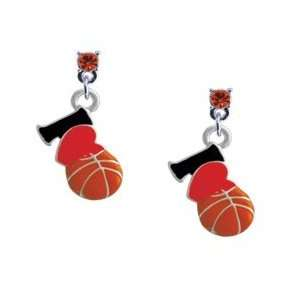 Love Basketball   Red Heart Hyacinth Swarovski Post Charm Earrings
