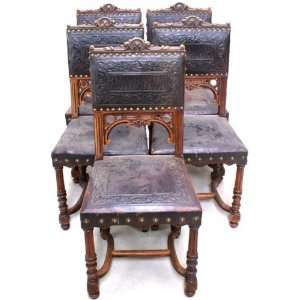 Antique Art Deco Carved Flowers Fruit Oak Accent Chair