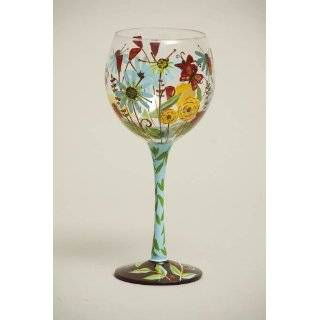 Hand Painted Wine Glasses. Set of 2. Hand Painted, Signed by Artisan
