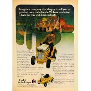 Harvester Co Cub Cadet Mower Home   Original Print Ad