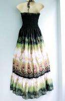 Green Adorable Cute Boho Beach Maxi Summer Sun Dress XS S M L