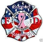 Breast Cancer Ribbon Fire Fighter sticker, Decal