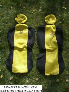 Sporty Yellow Black Jersey Car Truck Seat Covers Steering Wheel Cover