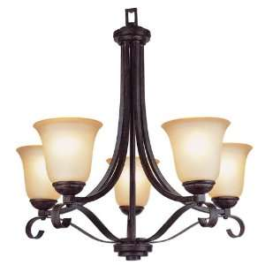 Trans Globe 5 Light Chandelier in Antique Brown Rust Finish   3685 ABR