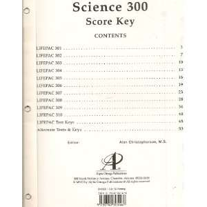 Lifepac Science 300 Grade 3 Score Key for Daily Lessons