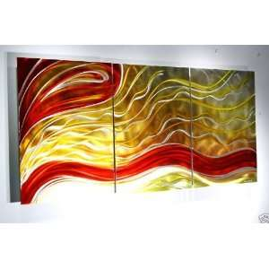 Contemporary Multi Panel Metal Wall Art Painting, Design