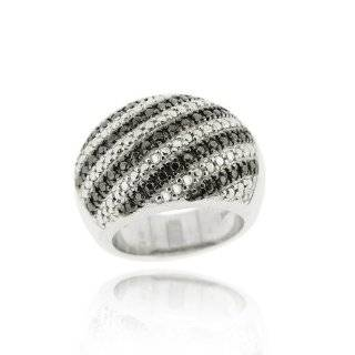 Sterling Silver Black and White Diamond Criss Cross Ring (1/4 cttw, I
