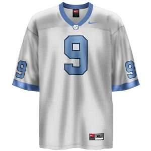 North Carolina Tar Heels (UNC) #9 White Youth Replica Football Jersey