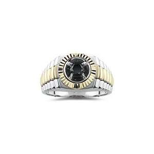 0.68 Cts AA Black Diamond Mens Ring in 14K Two Tone Gold 6