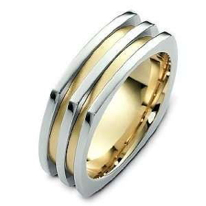Designer 18 Karat Two Tone Gold Square Style Wedding Band