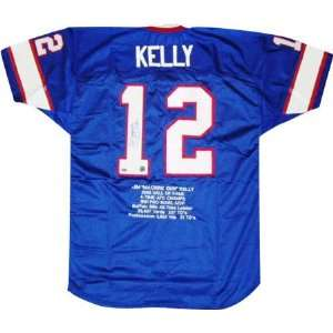 Jim Kelly Autographed Embroidered Custom Stat Jersey