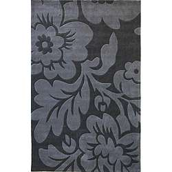 Hand tufted Alexa Pino Collection Floral Grey Rug (76 x 96