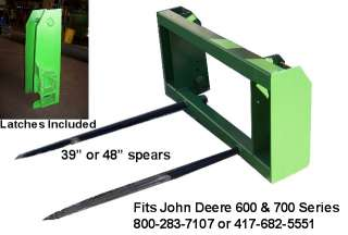 Fits John Deere 600 & 700 series hay fork 2 48 spears