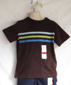 Jumping Beans Boys Brown Striped Short Sleeve T Shirt Tee   Sizes 2T