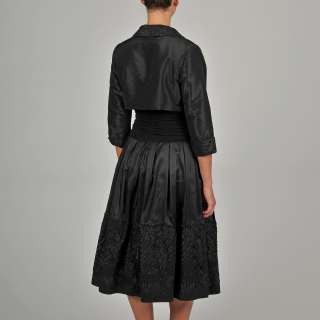 Black Embellished Hem Taffeta Bolero Jacket Dress Set