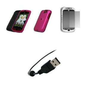 Mobile myTouch 3G Slide   Premium Hot Pink Rubberized Snap On Cover