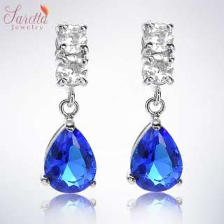 Fashion Jewelry Lady Pear Cut Blue Sapphire White Gold GP Drop Stud