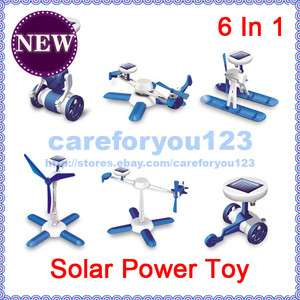 New 6In 1 Solar DIY Educational Kit Toy Helicoter Wheeler Windmill