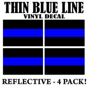 THIN BLUE LINE POLICE REFLECTIVE VINYL DECAL STICKER 4