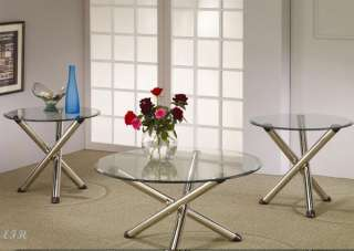 3PC APEX ROUND GLASS CHROME METAL COFFEE END TABLE SET