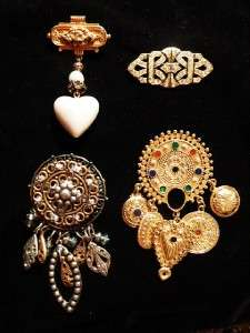VTG Lot Victorian Art Deco Inspired Brooch Gold Silver Tone Dangling