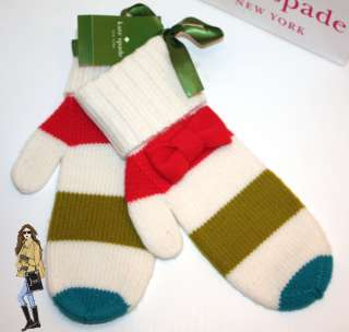 NWT Kate Spade Hudson Street Multi Color Striped Mittens With Adorable