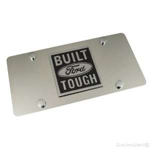 Ford Built Tough Logo On Chrome Polished License Plate