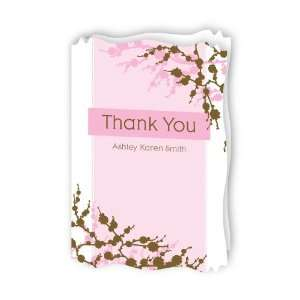 Baby Cherry Blossom   Personalized Baby Thank You Cards With Squiggle