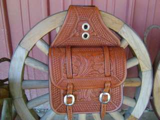COW FULLY TOOLED LEATHER WESTERN HORSE COWBOY SADDLE BAGS BAG