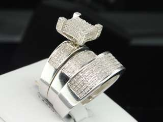 Men Ladies White Gold Finish Round Diamond Engagement Ring Wedding