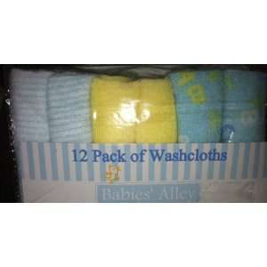 Terry Baby Washcloths ~ Boys Colors ~ Blue / Green / Yellow / White