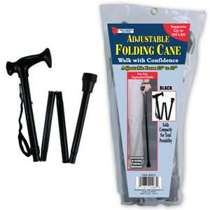 Folding Cane   Walking Stick Height Adjustable in Black 017874002689
