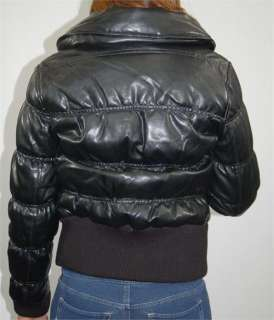 WOMENS BLACK BABY PHAT PUFFER FAUX LEATHER JACKET SMALL MEDIUM LARGE