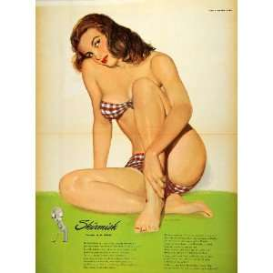 1949 Print Risque Esquire Pinup Girl Risque Al Moore   Original Color