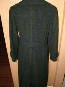 00 Anne Klein Womens Charcoal Belted Double Breasted Wool Coat Size 8