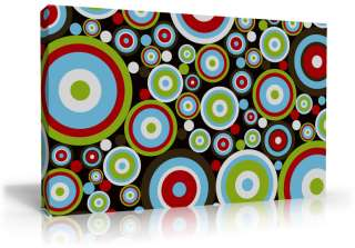FUNKY RETRO CIRCLES PATTERN ART CANVAS MODERN RED GREEN