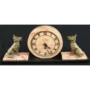 Antique Art Deco Marble Mantle Clock German Shepard