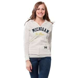 Womens White Slub Cotton Full Zip Hooded T Shirt