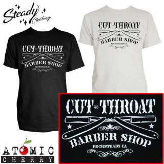 Steady Cut Throat Barber Mens T Shirt Rockabilly Tattoo Punk Greaser